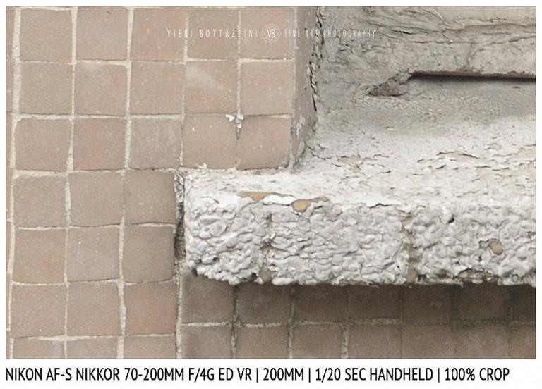 Nikon AF-S Nikkor 70-200mm f/4G ED VR | Stabilisation Test | 200mm | 1/20 sec | Crop