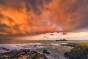 Godrevy Lighthouse at sunrise (Cornwall, 2018)