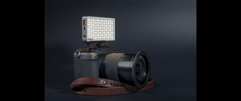 The Nitecore SCL10 2-in-1 Smart Camera Light on the Hasselblad X1D II