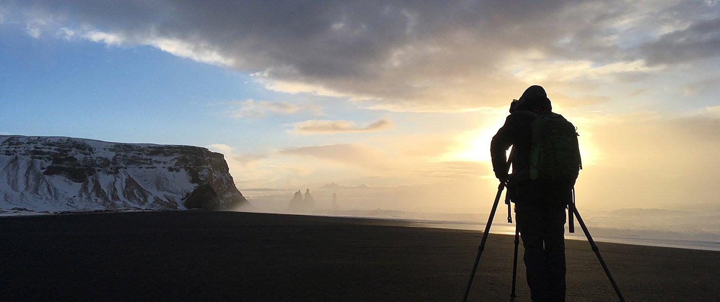 Vieri at work at Reynisfjara, Iceland 2018